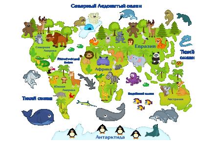 Наклейка на стену Карта мира для детей в интерьере детской ...