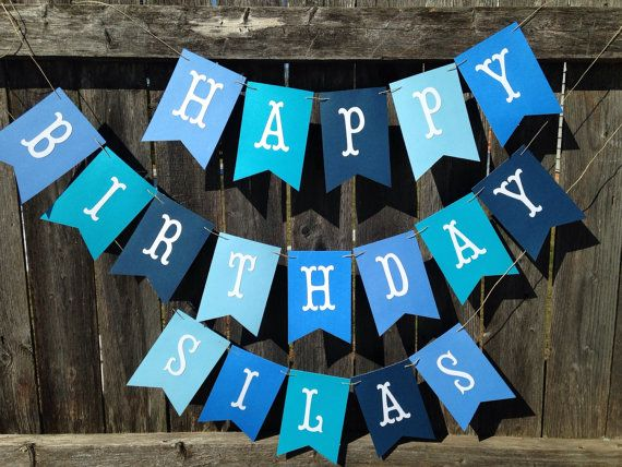 Happy Birthday banner. Happy Birthday banner personalized. Boy Birthday banner. Blue birthday banner. on Etsy, $18.00
