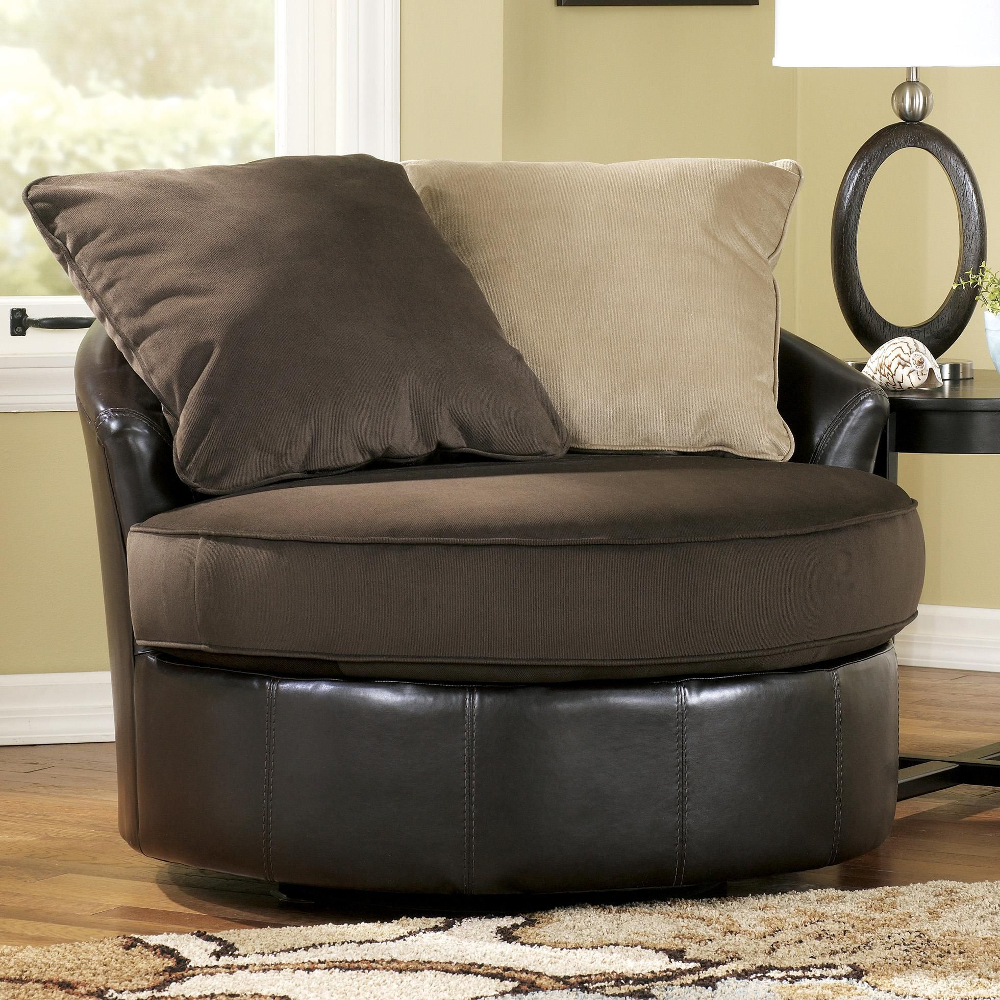 Round Swivel Chair Living Room Gemini Chocolate Round Swivel Chair By Ashley Furniture Living