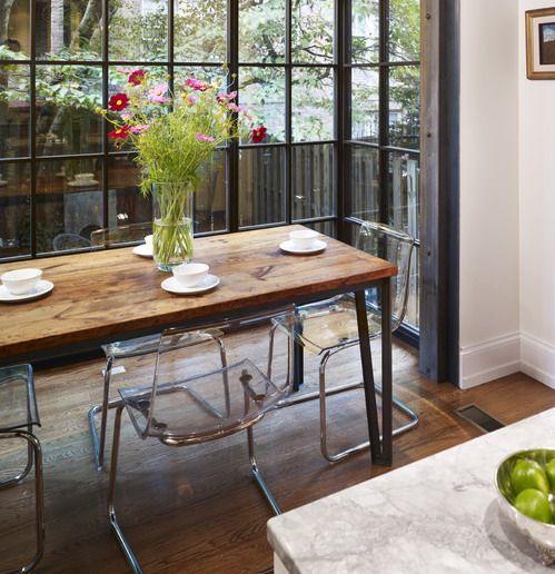 Clear Acrylic Chairs With Wood Table Google Search APARTMENT - Ensemble table et 4 chaises sun pour idees de deco de cuisine