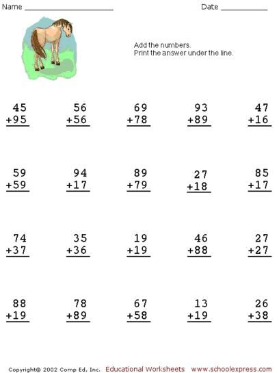 Free Addition Worksheets, 2 Digits With Carrying | Math | Pinterest