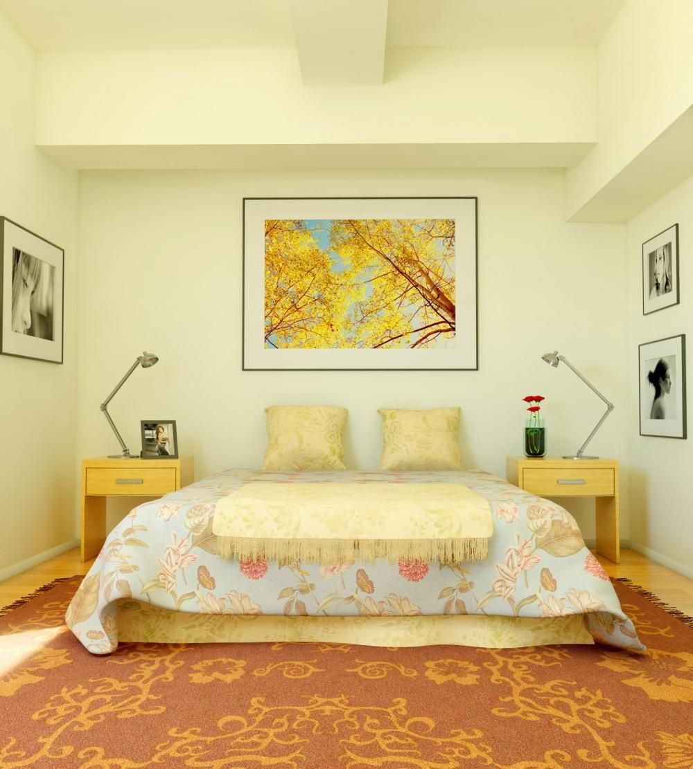 Bedroom Paint: Cream Colored Bedroom With Orange Carpet Decor Master