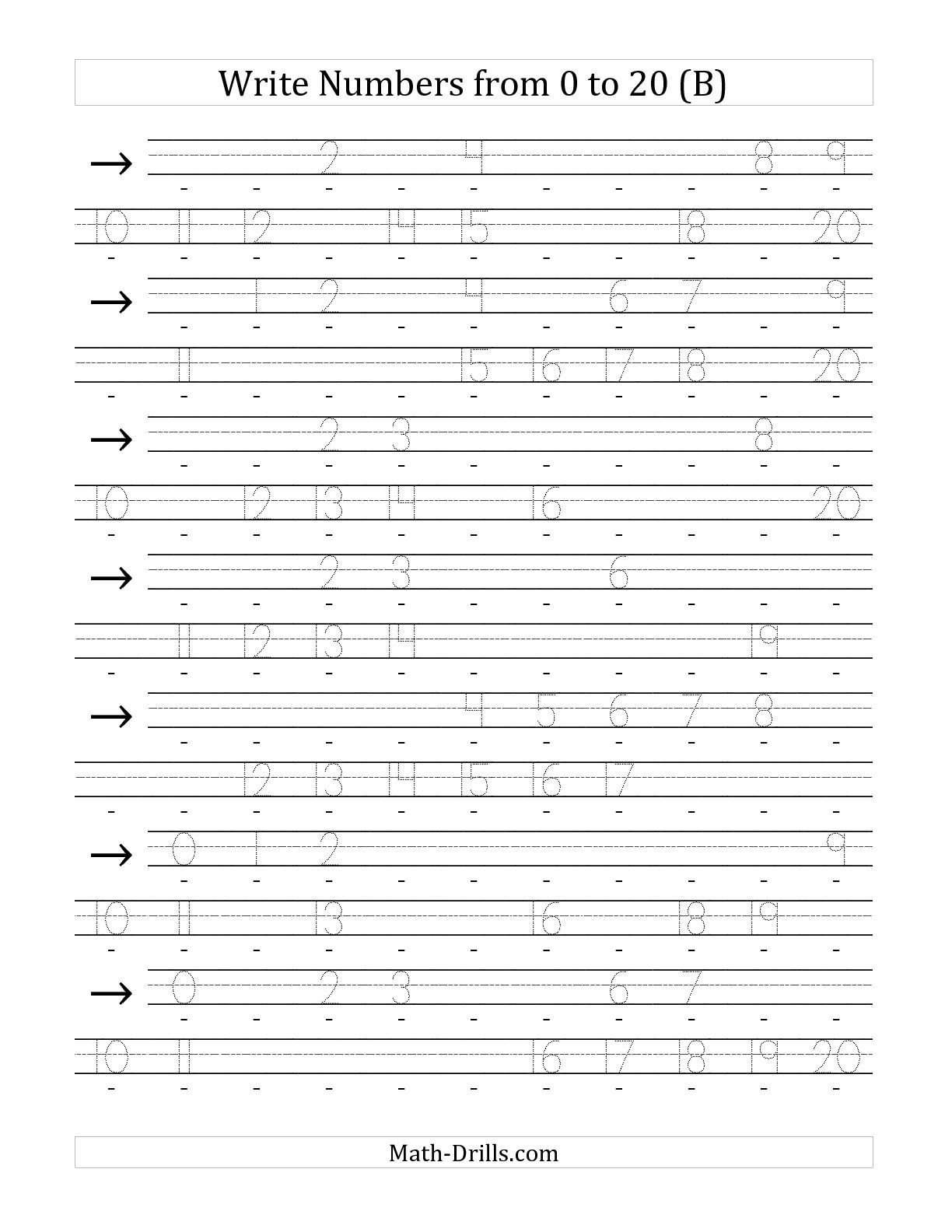 The Writing Numerals From 0 To 20 36pt B Math Worksheet