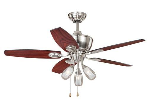 Shop Cascadia Lighting 4 Light Standford Brushed Nickel: Turn Of The Century Elani 44in. 3 Light Ceiling Fan At