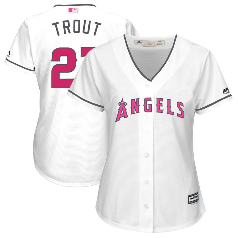Mike Trout Los Angeles Angels of Anaheim Majestic Women s Mother s Day Cool  Base Replica Jersey - White b0677ae62