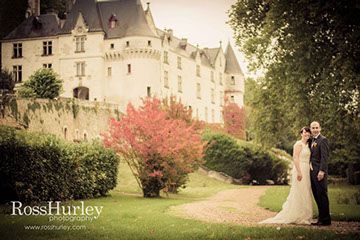 Bride and Groom at gorgeous chateaux wedding! www.rosshurley.com