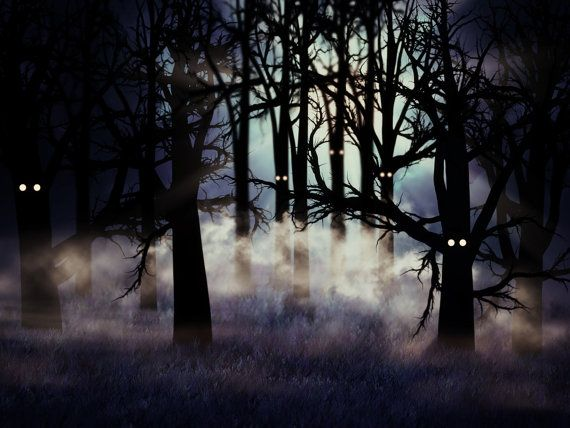 Halloween Backdrop Scary Dark Forest Trees With Eyes Printed