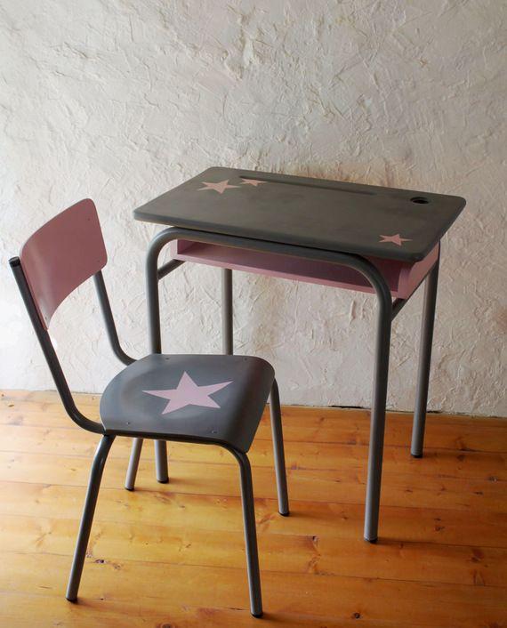 Ensemble bureau et chaise d 39 colier vintage relook gris - Chaise d ecolier vintage ...