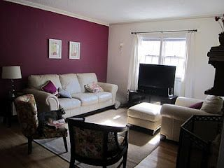 The Dark Raspberry Wall Living Room Wall Color Living