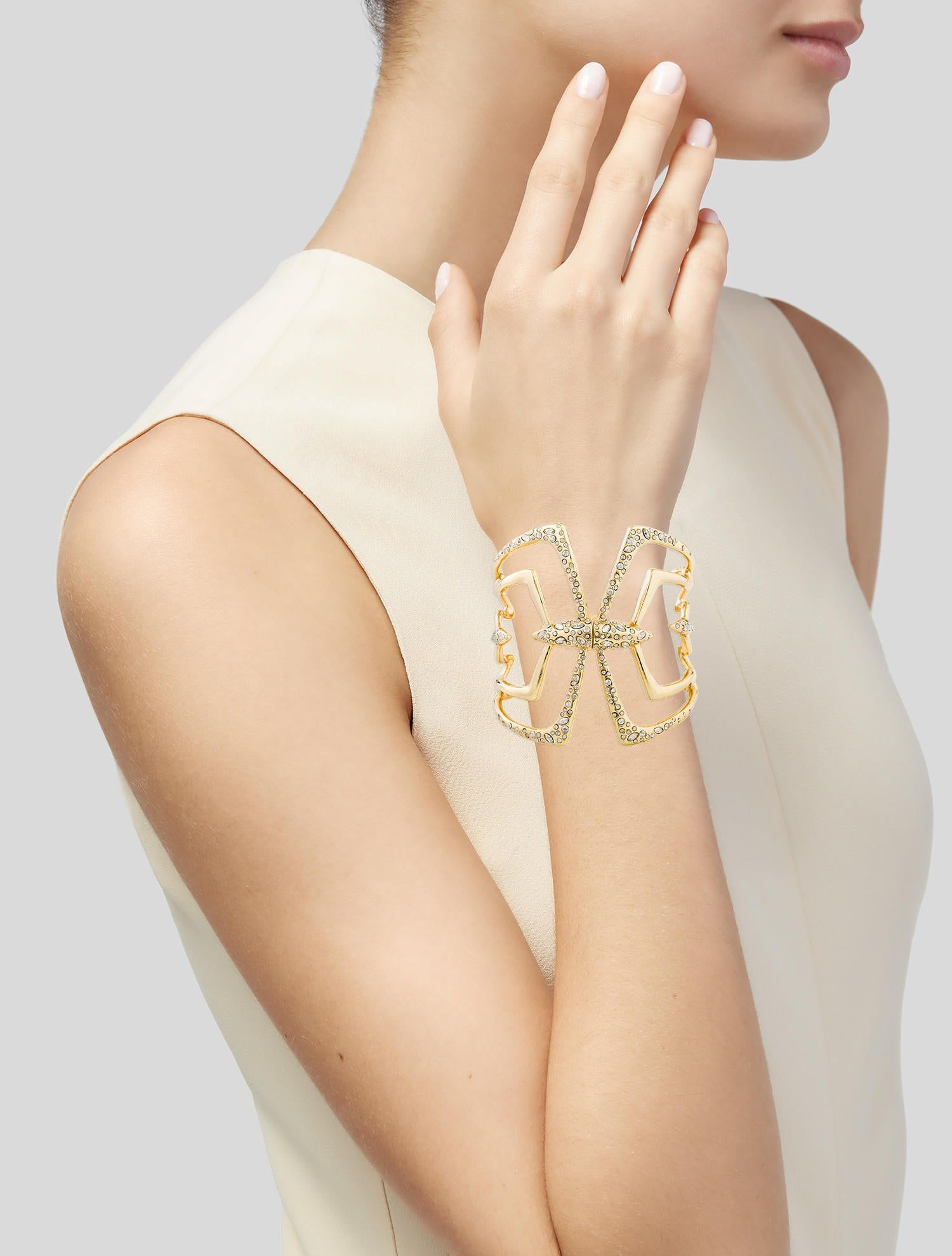 Crystal Encrusted Mirror Hinge Bracelet Active Wear For Women