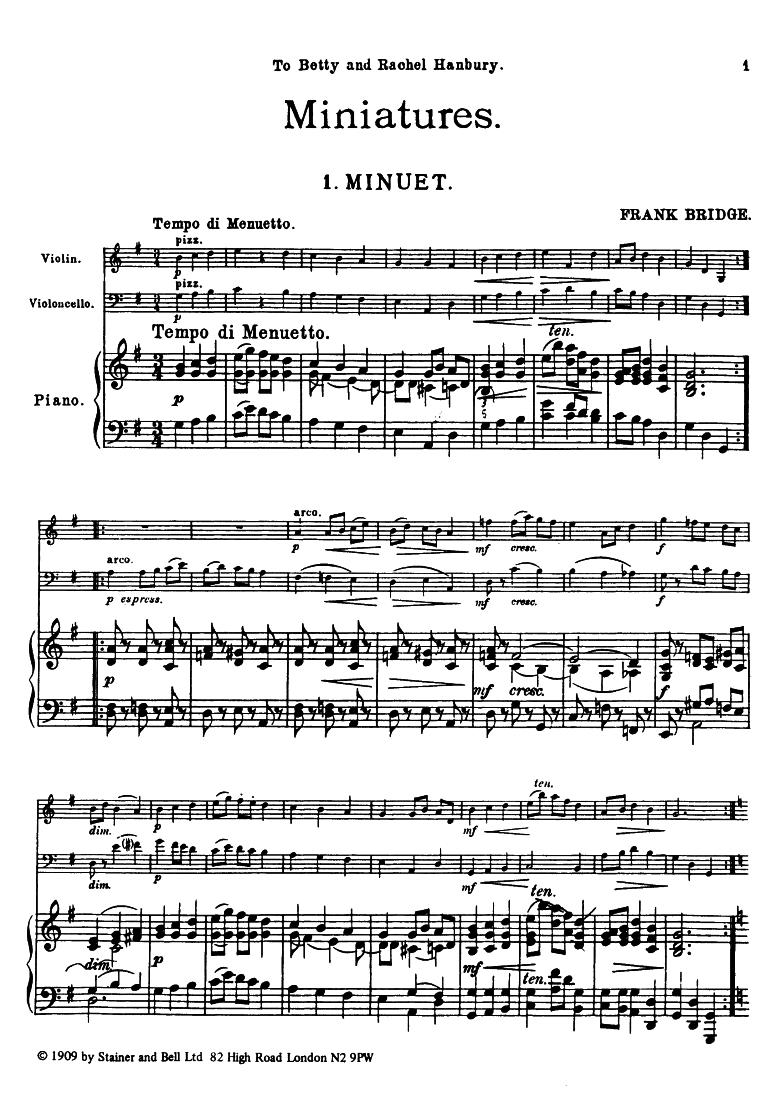 Miniatures, H 87-89 (Bridge, Frank) - IMSLP/Petrucci Music