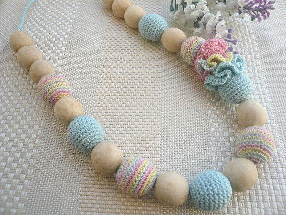 Eco Nursing necklace/Teething Necklace/Wooden knitted with crochet ...