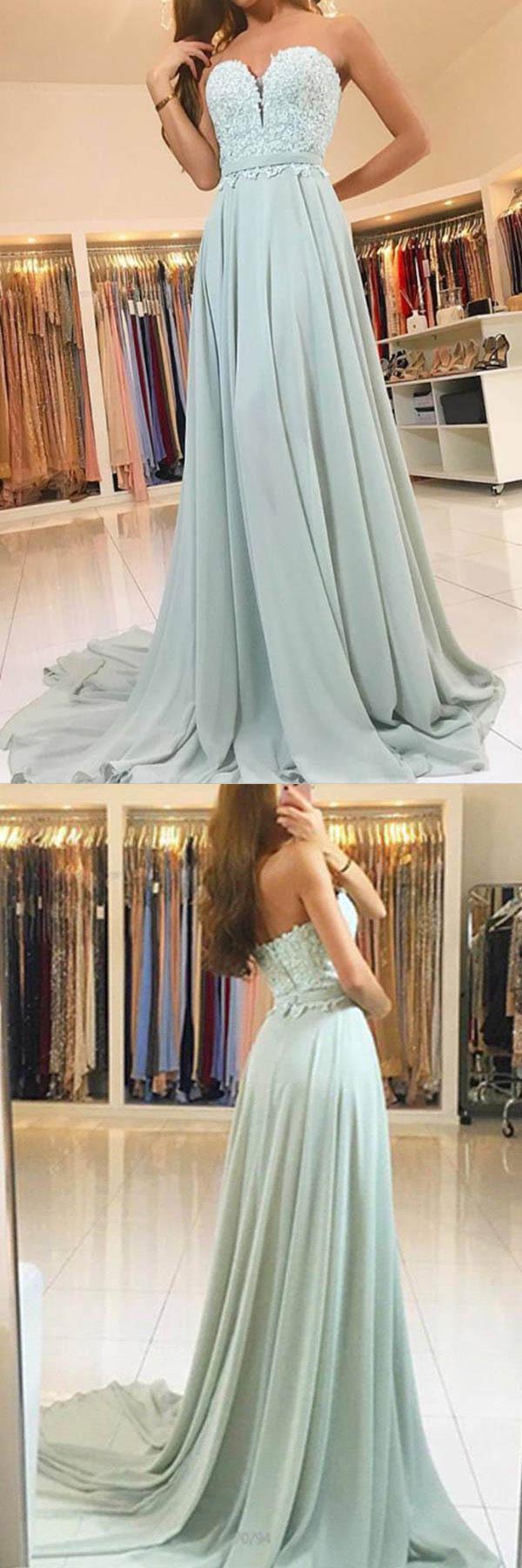 Elegant sweetheart lace evening dress long chiffon prom dress pg