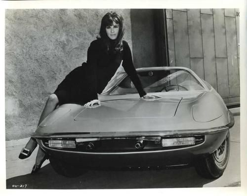 Stefanie Powers as April Dancer in The Girl from U.N.C.L.E, 1966. I believe this car was later retooled and raced as a sports car, and then may or may not have been the source for the unusual 'funny car' The Piranha.