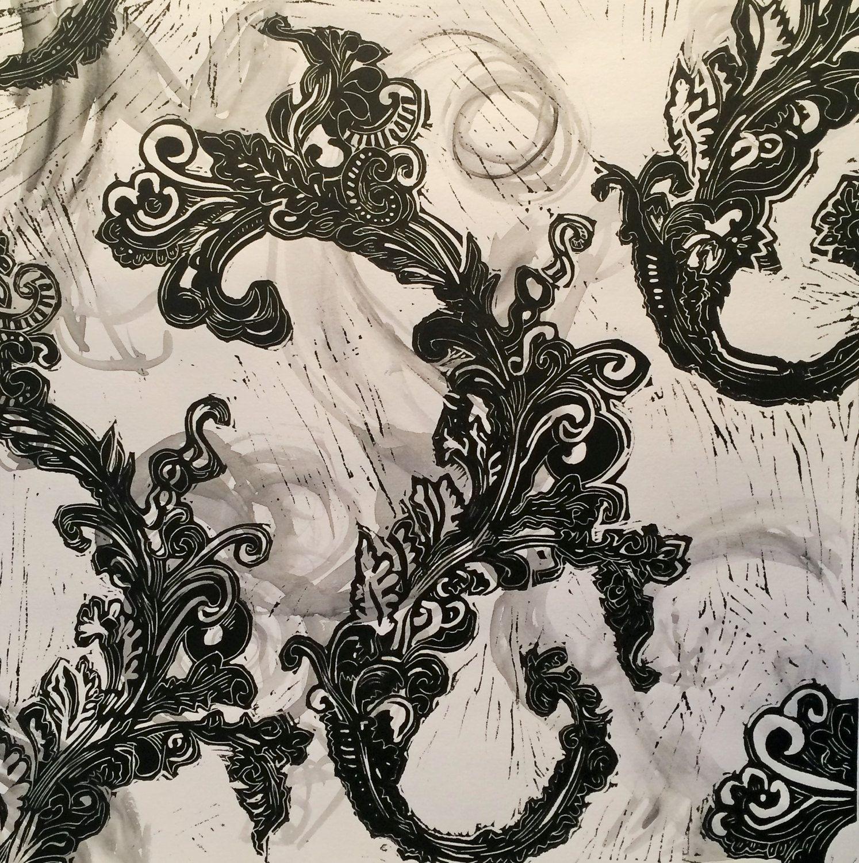 Abstract art print, art print, patterned print Ink wash