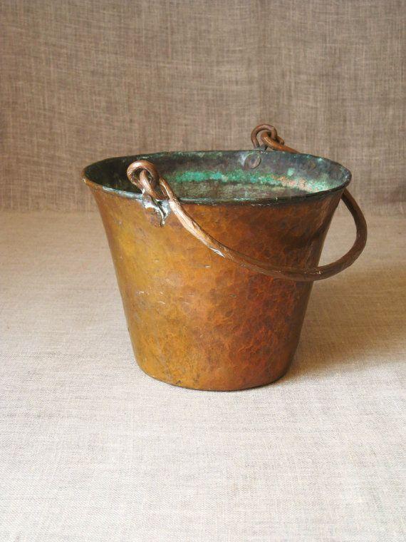 Copper Bucket / Vintage Copper Bucket / Planter / Copper Planter - Ranch Cabin on Etsy, $40.00