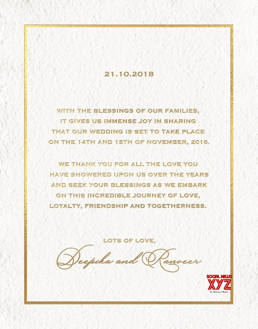 Deepika Padukone And Ranveer Singh Wedding Invitation Cards Social News Xyz Wedding Invitation Cards Deepika Padukone Big Wedding