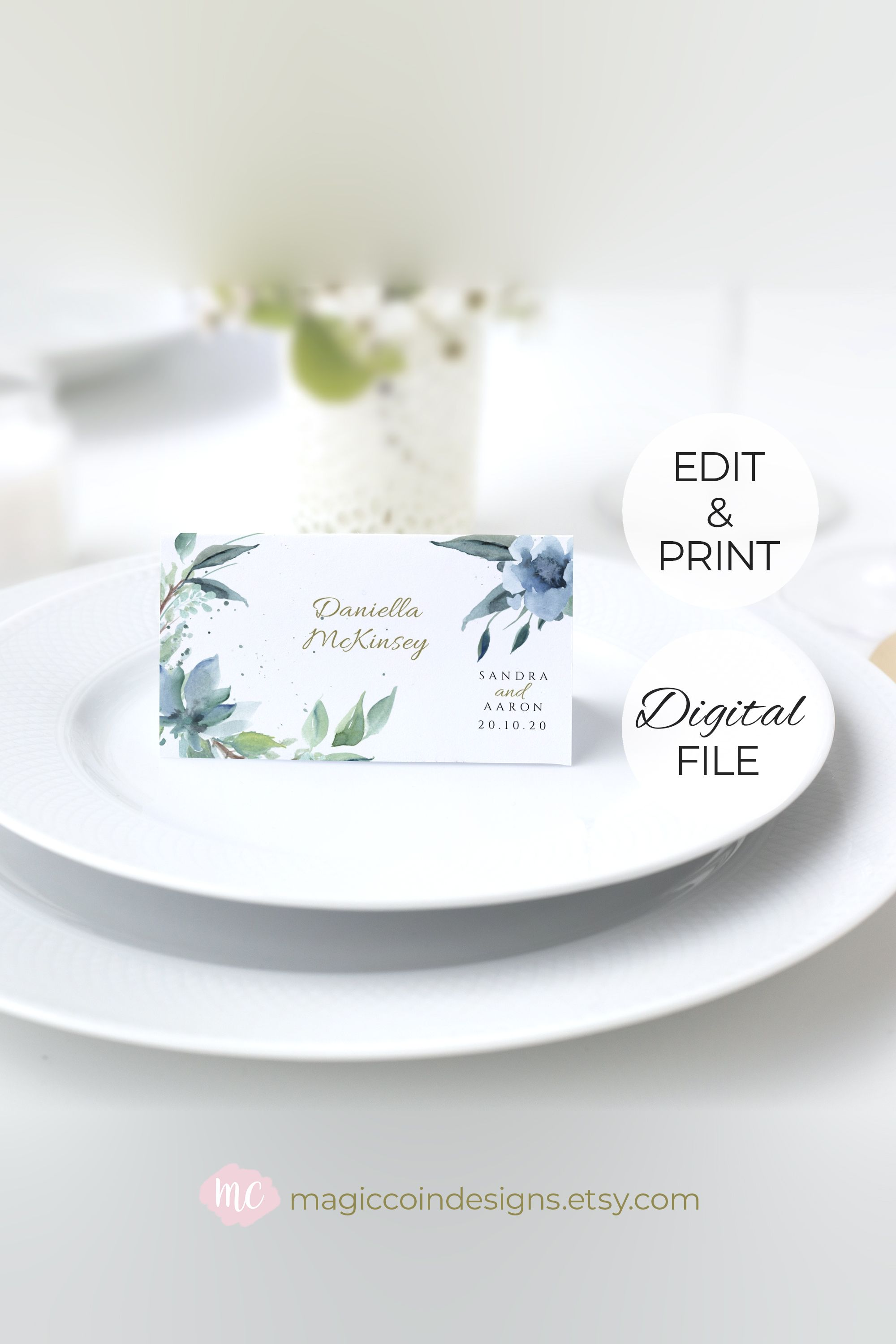 Floral Place Card Blue Floral Wedding Place Cards Template Table Seating Card Digital Download R12 In 2020 Wedding Place Cards Wedding Place Card Templates Place Card Template
