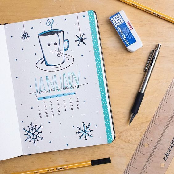 "@sweytleidy on Instagram: ""I forgot to share my January cover page with you. By the time I get through this #bulletjournal my #doodling skills will be legit. Let me…"""