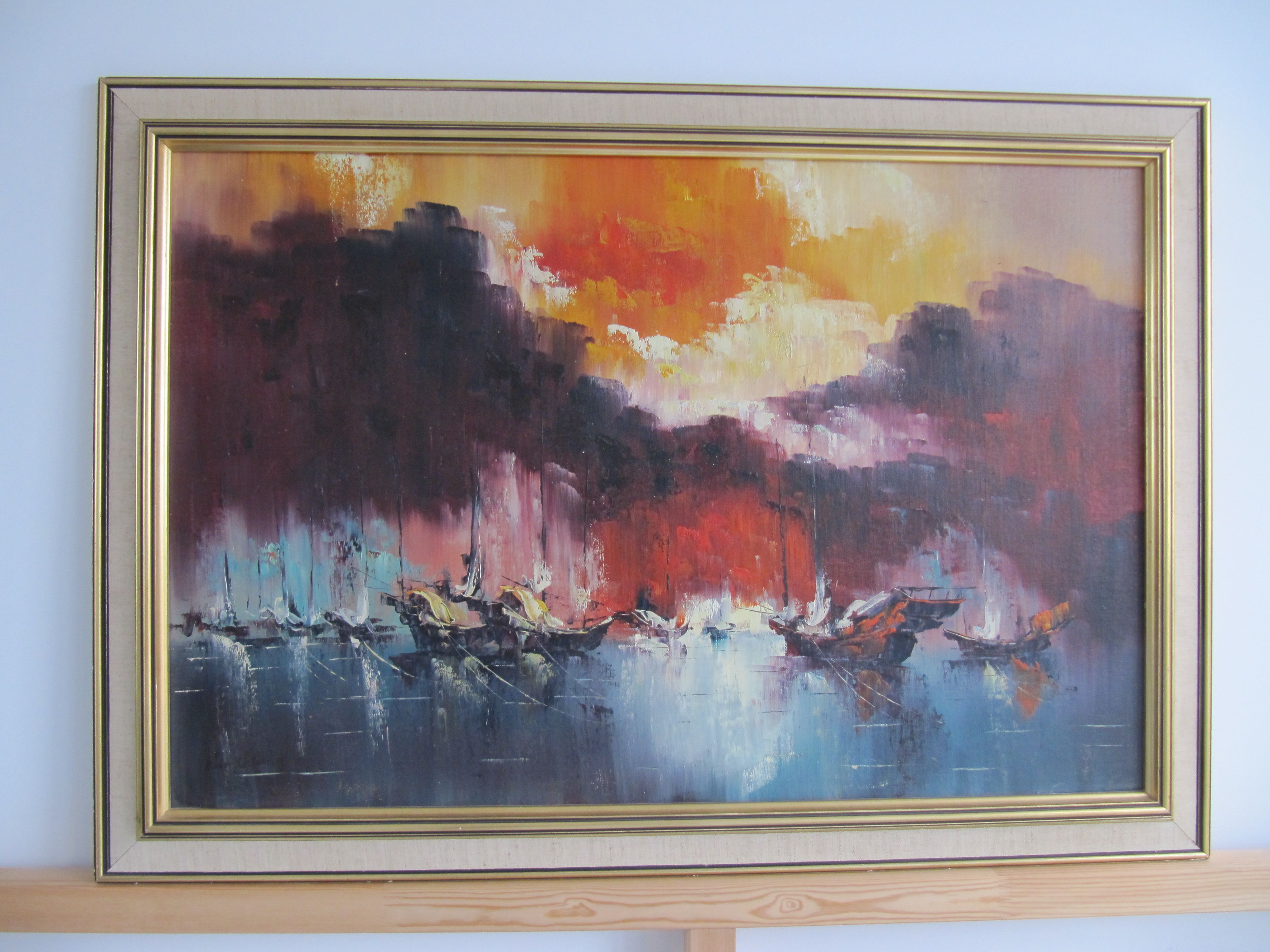 The mid century modern style is hugely popular right now and rightly - Framed Hong Kong Harbour Sunset Oil Painting Hong Kongmid Centuryoil Paintingssunsets
