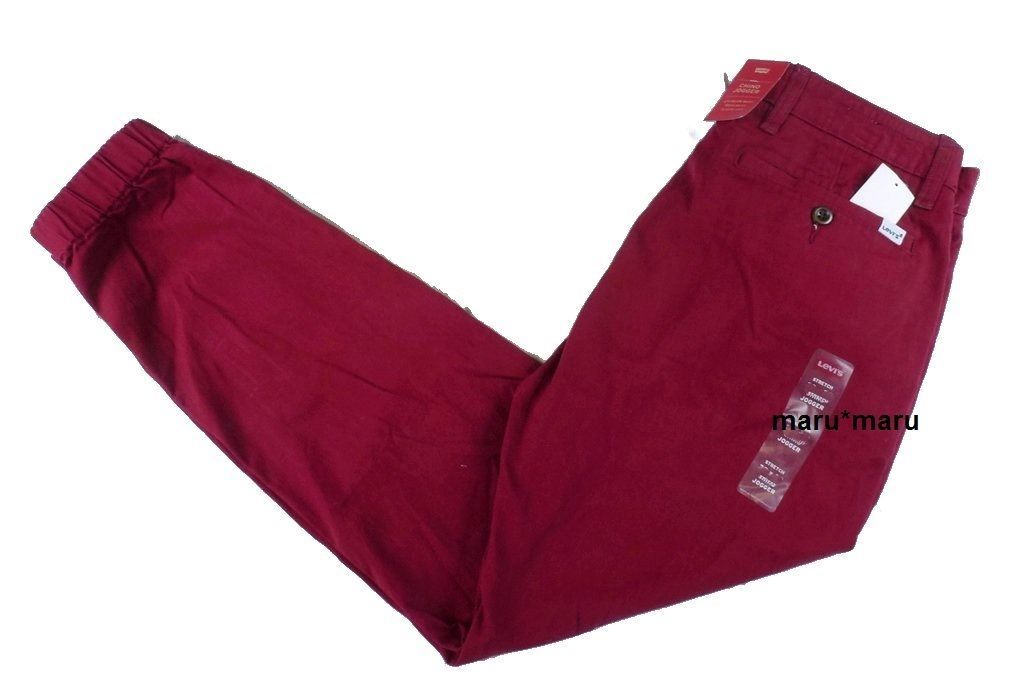 New Mens LEVIS Chino Jogger Pants 36 x 34 RED Cardinal slim running dance