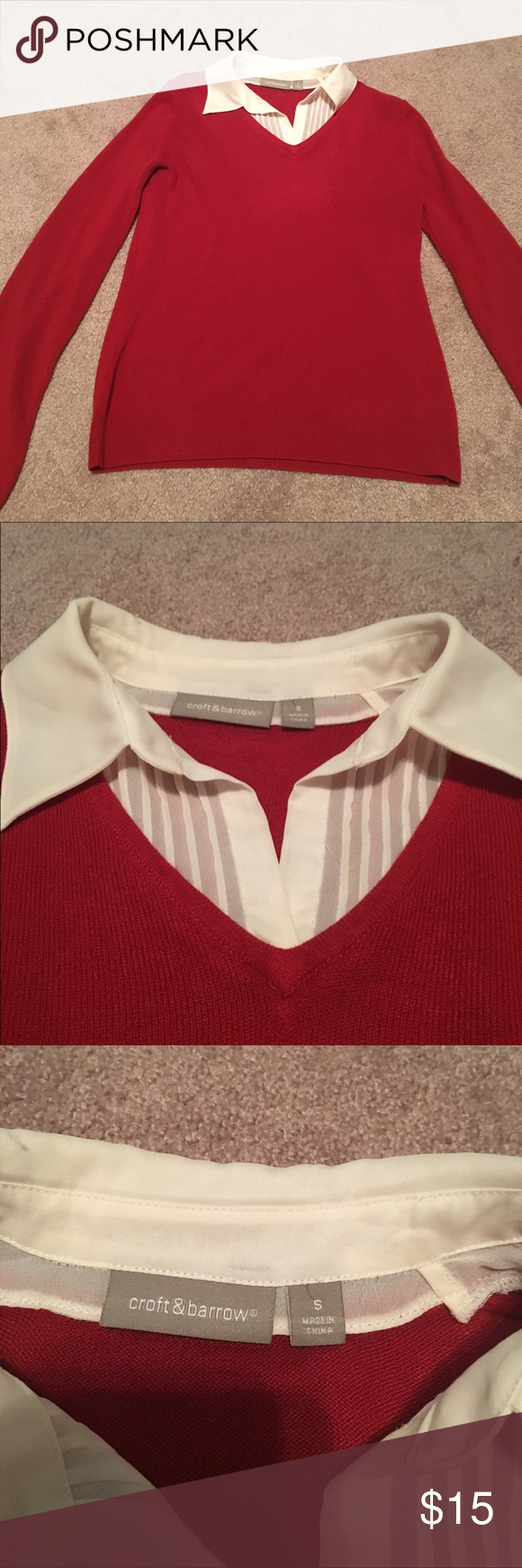 Croft & Barrow sweater. Red. Small. EUC Croft & Barrow sweater. Red. Small. EUC. Very comfy and cozy 😀 croft & barrow Sweaters V-Necks