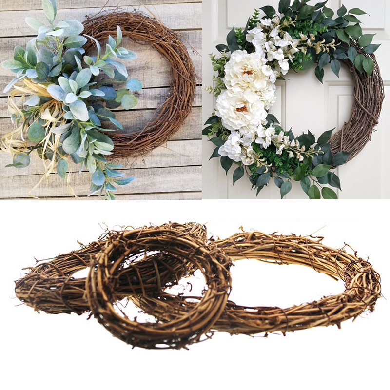 Vine Wicker Garland Hanging Round Heart Wreath Rattan DIY Xmas Wedding Decor