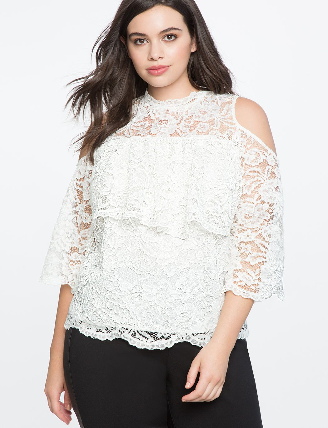 d1e9d022971b Lace Cold Shoulder Overlay Top | Women's Plus Size Tops in 2019 ...