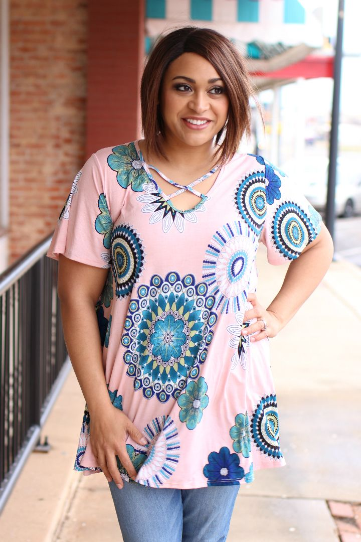 e25adcf45b0 One Faith Boutique - Spring Whimsy Mix Print Tunic With Criss-Cross Neck ~  Dusty Pink ~ Sizes 12-18, ...