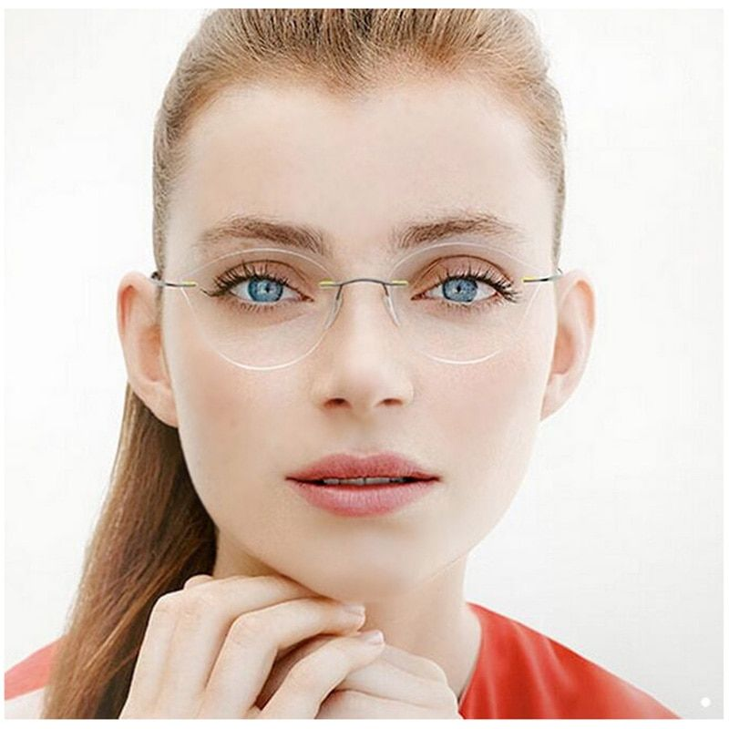 Rimless Glasses Frame Women Titanium Ultralight Eyeglasses