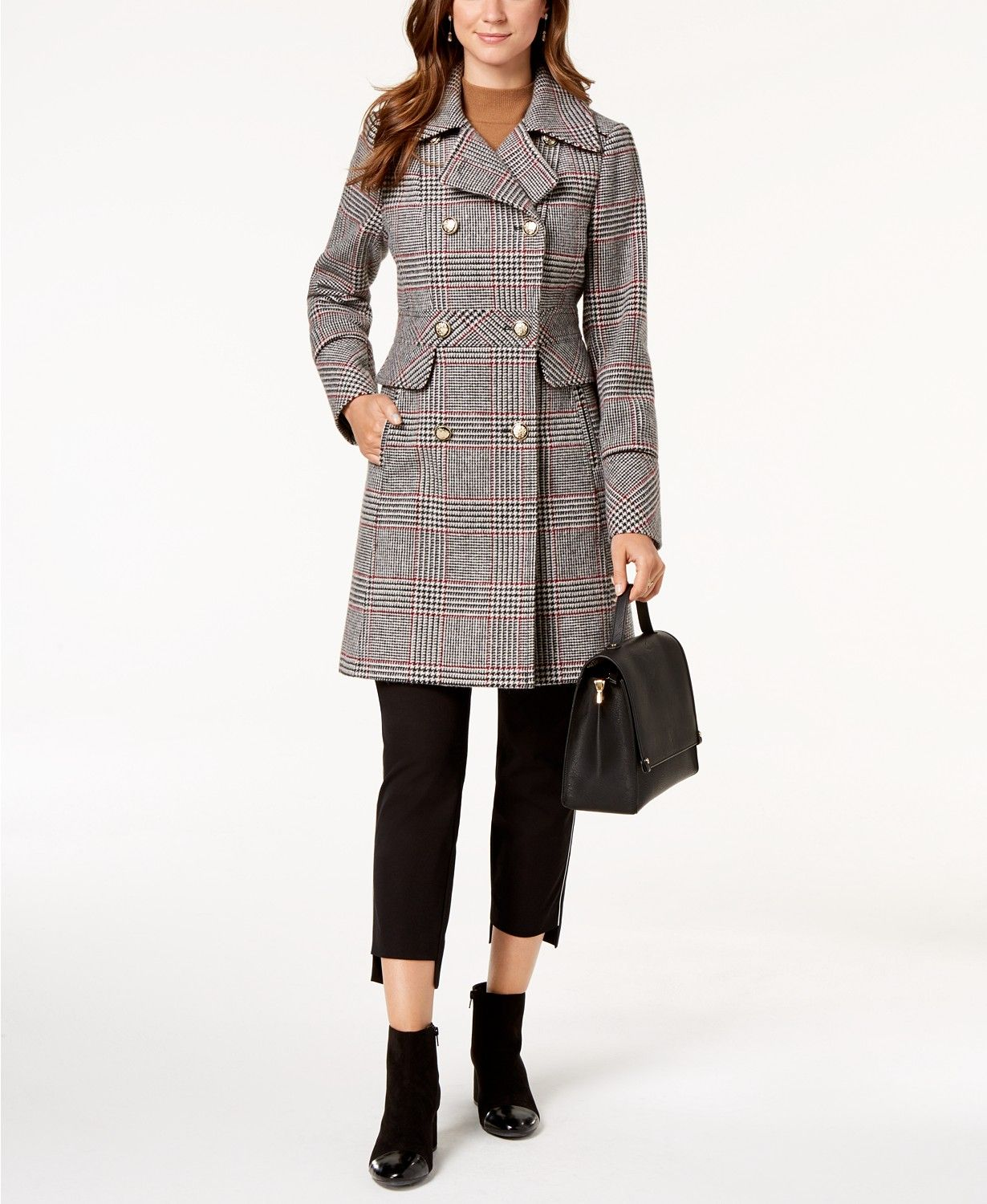 58413e3e0d9a5f Vince Camuto Wing-Collar Military Coat - Coats - Women - Macy's ...