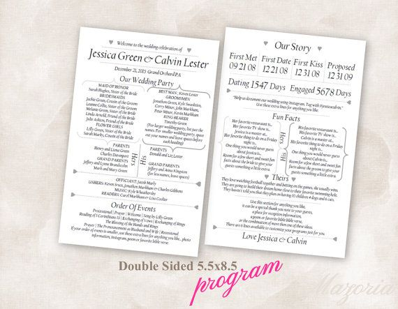 wedding program double sided printable instant download instant