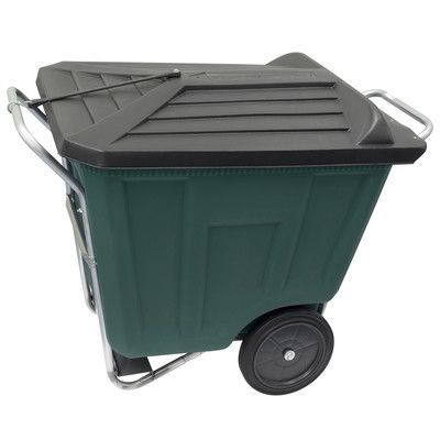 Akro Mils 90-Gal Trash Bin with Lid Color: Green