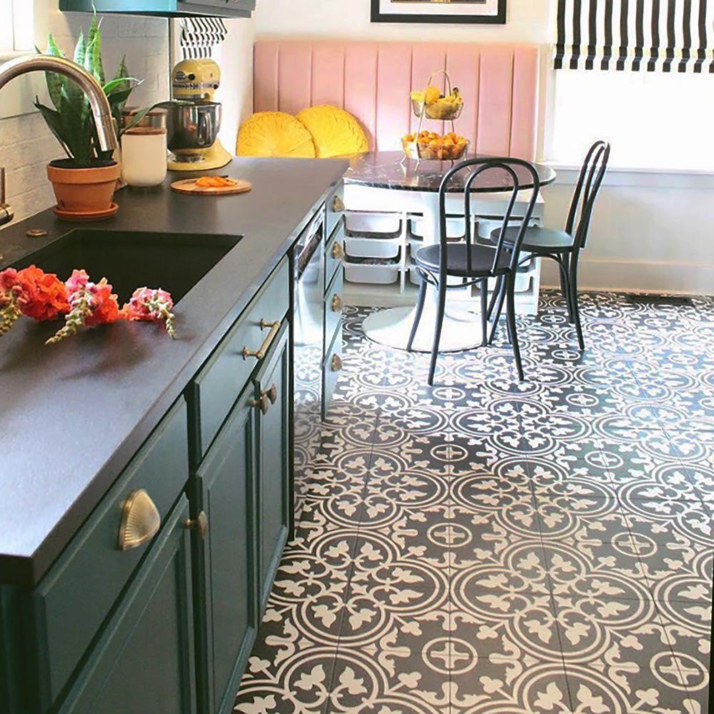 Merola Tile Arte Black Encaustic 9 3 4 In X 9 3 4 In Porcelain Floor And Wall Tile 36 Cases 399 96 Sq Ft Pallet Fcd10arb The Home Depot Porcelain Flooring Flooring Kitchen Flooring