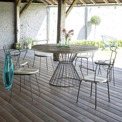 Lina Pine And Metal Outdoor Table 140 Metal Outdoor Table