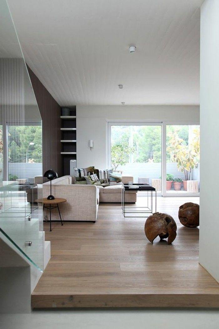 treppe mit glasgeländer wohnzimmer mit parketboden | gestaltung, Hause ideen