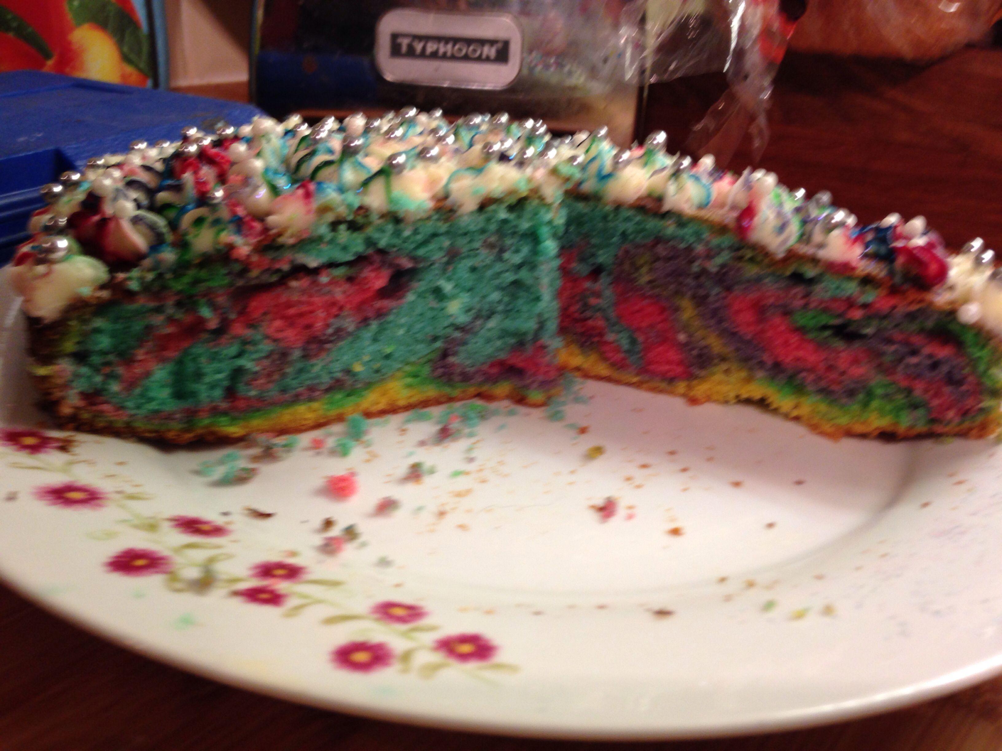 I made multi coloured cake