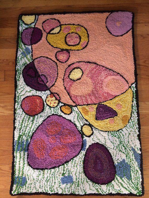 Hand Hooked Rug 100% Wool // Modern Design Multi-Color ...