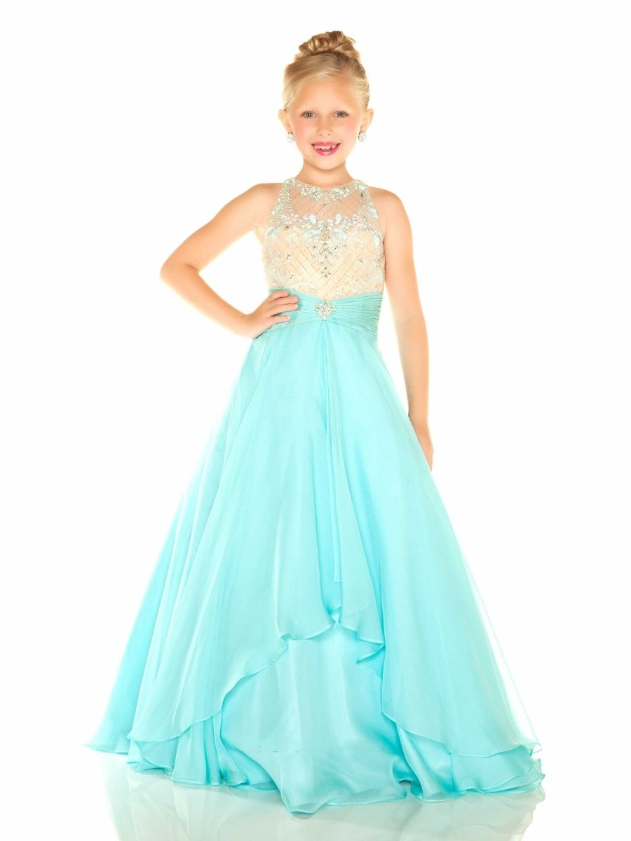 Sassy and Decorative Chiffon Halter Ball Gown Little Girls Gown by Sugar  Style Call to Order Your Sugar Little Girls Pageant Dress Today!