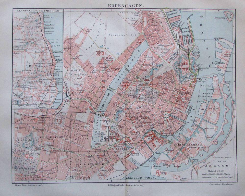 Details Zu 1897 Kopenhagen Danemark Alte Stadtplan Karte