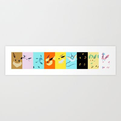 Eevee evolutions line- Eeeveelutions PKMN Art Print by Rebekhaart - $15.60