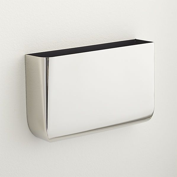 Revere Silver Wall Mounted Storage   CB2 For Foyer