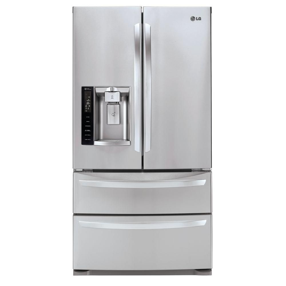 Lg Electronics 26 7 Cu Ft French Door Refrigerator In Stainless Steel Lmxs27626s Lg French Door Refrigerator Steel Double Doors Stainless Steel Refrigerator