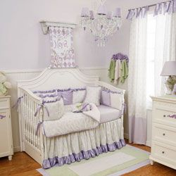 Lilac And Silver Gray Damask Crib Bedding Baby Carousel Designs