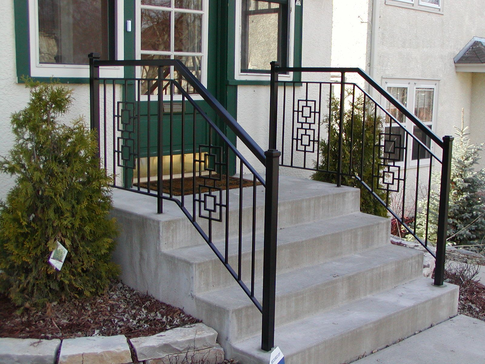 Iron step railing with 2 inch square end posts and square for Exterior railings