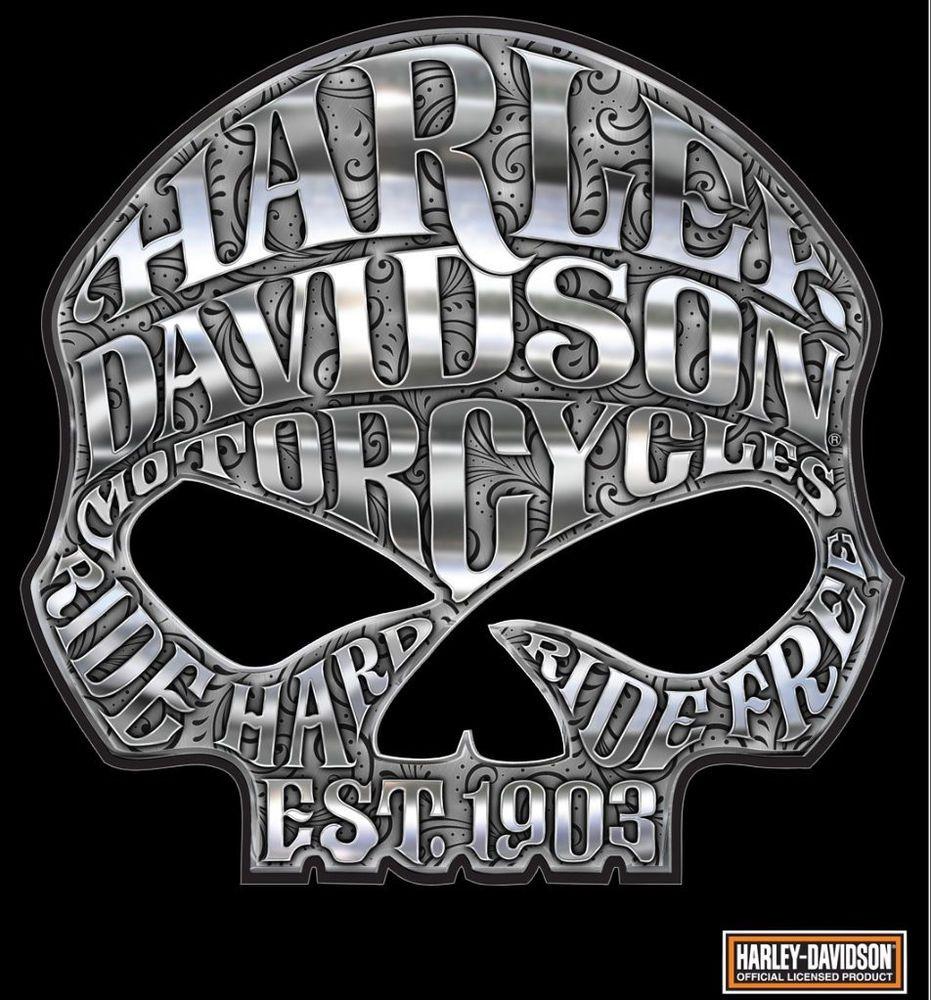 HARLEY DAVIDSON MOTORCYCLE WILLIE G SKULL CHROME DECAL