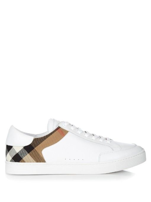 Burberry Shoes   Accessories Leather house-check low-top trainers ... c23d55fc6a5