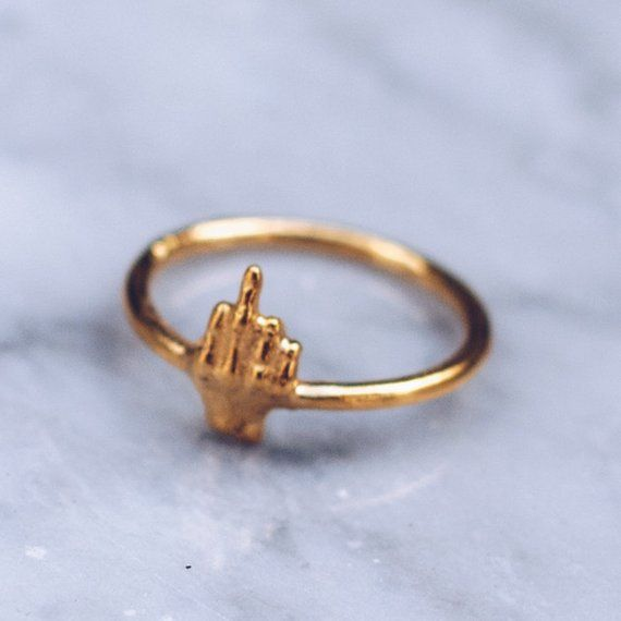 Gold Middler Finger Ring Cool Rings for Women and Men Grunge Jewelry Punk Rock Fun Rings Dainty Ring Gold