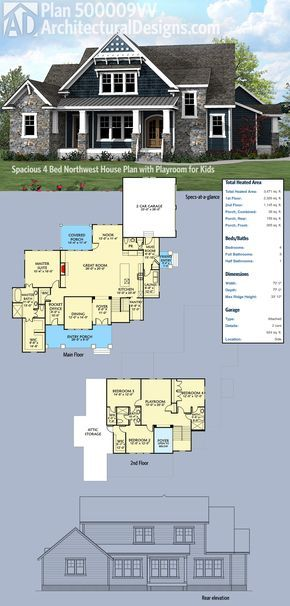 Plan 500009VV: Spacious Northwest House Plan with Playroom for Kids ...