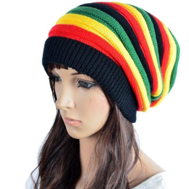 109aa30c5ac Hot Sale Many Rasta Style Women Men Fashion Knitted Woolen Skull Baggy  Crochet Beanie Hat Striped Gorros Cap Skullies   Beanies